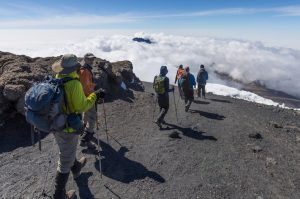 Descending from the summit of Kilimanjaro