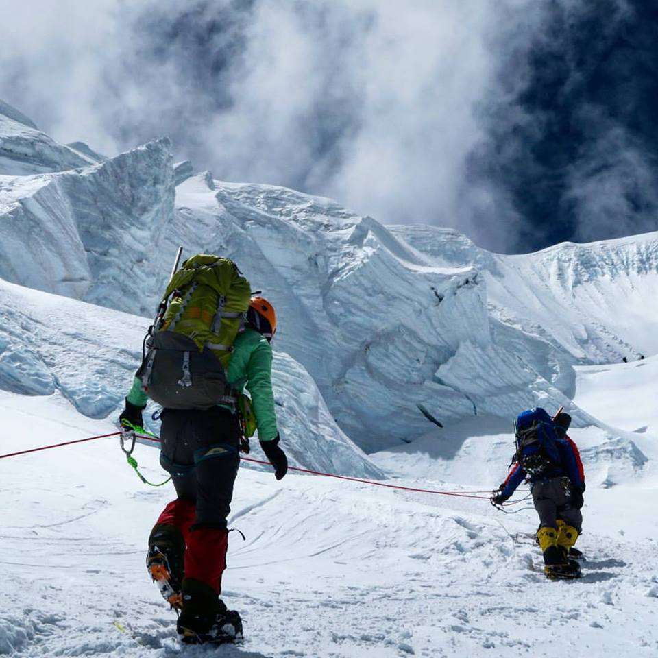 Climbers moving up to the North Col during Alpenglow Expeditions North Side of Everest Rapid Ascent in 2016