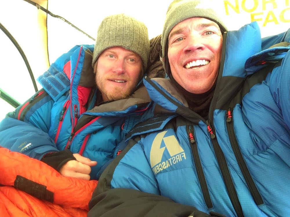 Adrian Ballinger and Cory Richards high on Mt Everest in 2016 during #EverestNoFilter