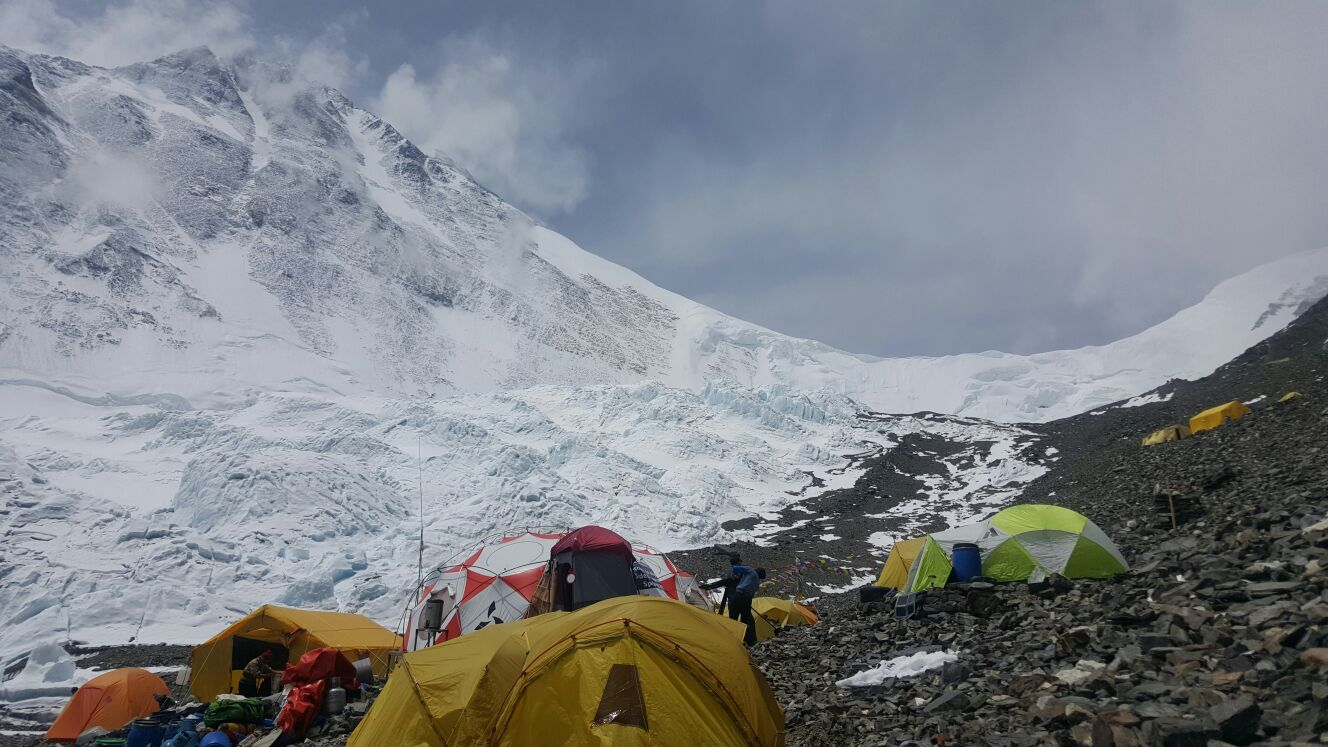 Advanced base camp for Alpenglow Expeditions on the North Side of Mount Everest in 2016