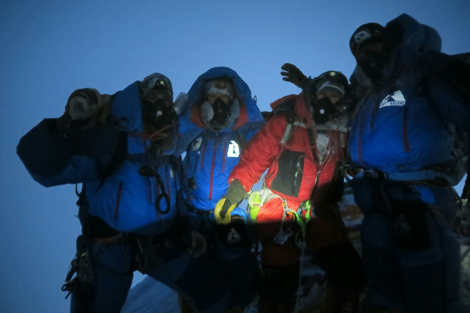 Alpenglow Expeditions climbers on the summit of Mt Everest in 2016
