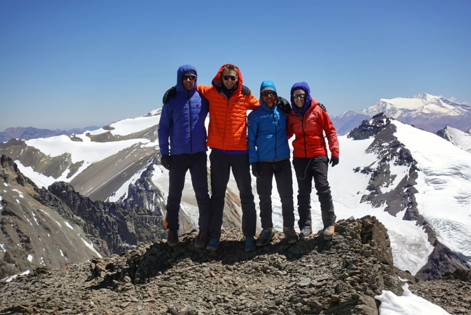 Alpenglow Expeditions climbing team at camp 2 on Aconcagua