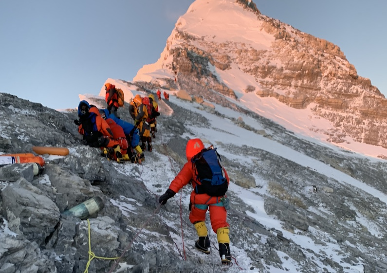 Sunrise looking at the summit of Mt Everest