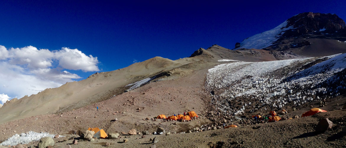 View of camp on Aconcagua in Argentina from our climb Aconcagua Rapid Ascent expedition