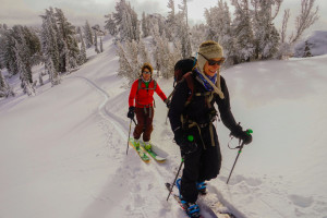 Backcountry ski in Lake Tahoe with Alpenglow Expeditions intro to backcountry skiing
