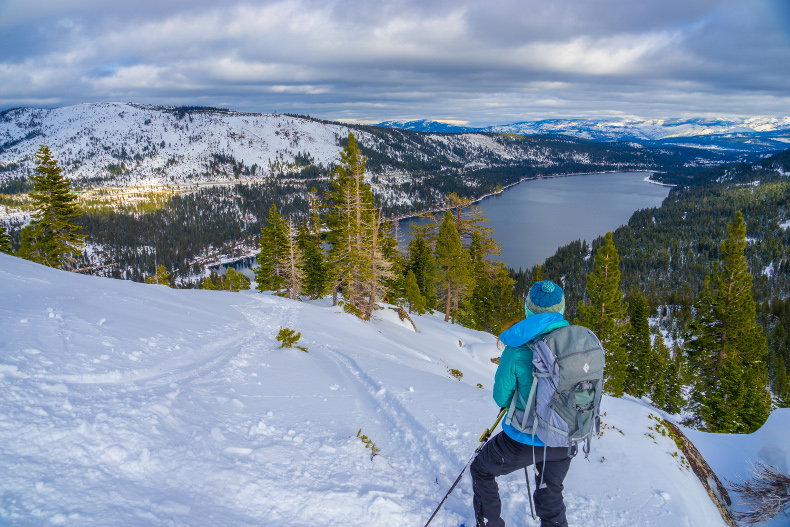 intro to backcountry skiing in lake tahoe alpenglow