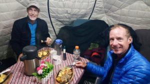 gourmet dinner in Nepal, Ama Dablam base camp