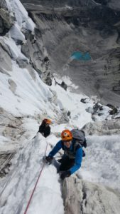 Moving up through the grey tower on Ama Dablam during our 2017 expedition.