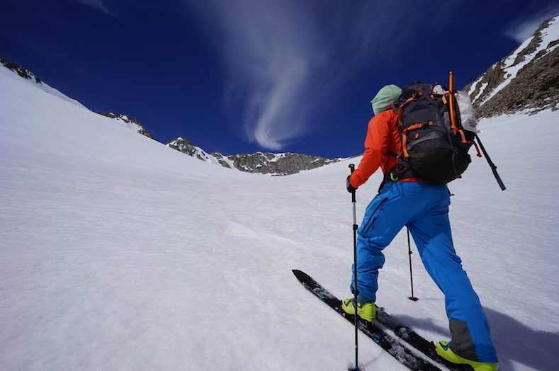 Ski Touring up a snow slope