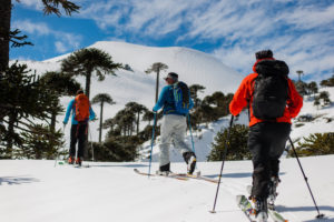 Ski Touring with a group in the Andes Mountains of Chile