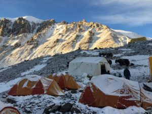 Interim camp on the north side of Mt Everest